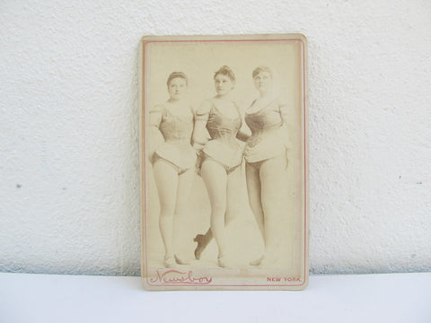 Antique CDV by Newsboy, burlesque broadway performers