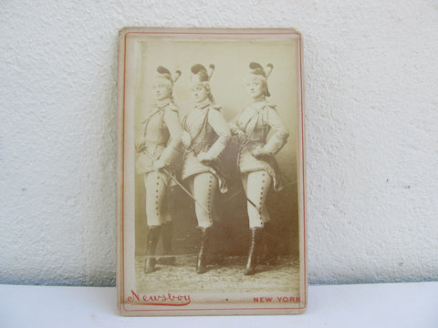 Antique CDV of Ida Rock, May Branson, Geraldine McCann by Newsboy