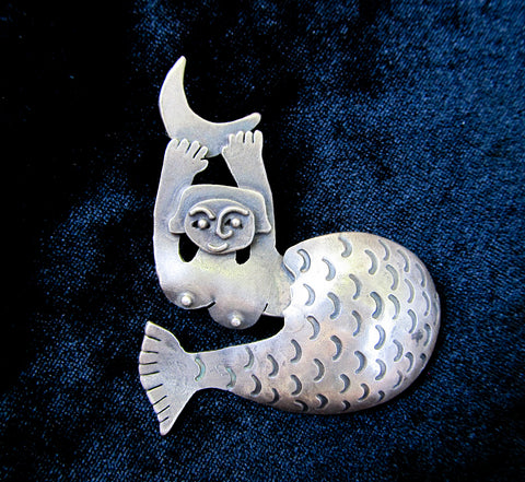 Mid century modern Mermaid brooch in sterling silver, signed vintage brooch