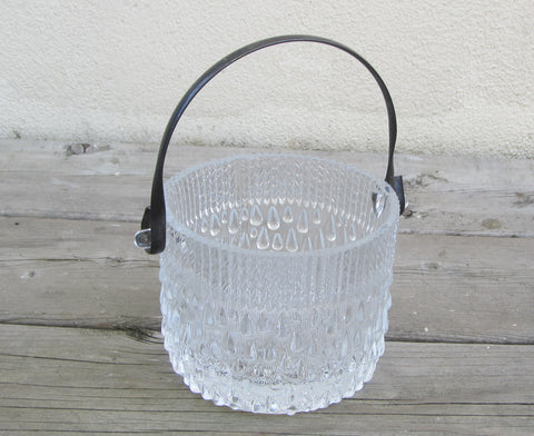 Vintage teardrop Ice Bucket, heavy glass raindrop ice bucket