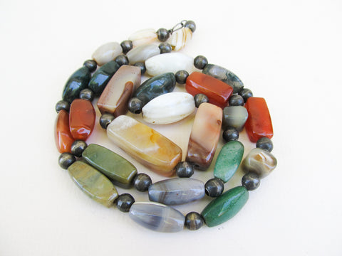 Scottish agate beaded necklace, vintage scottish jewelry
