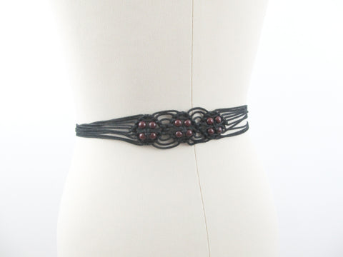 Black macrame belt, vintage knotted hippie boho belt with tassels and beads