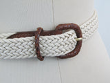 "Vintage belt, max 39"" white rope and leather woven belt by Honors"