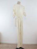 White jumpsuit by Club Prive, ILGWU Canada, Blue Union label vintage jump suit women in Ivory white