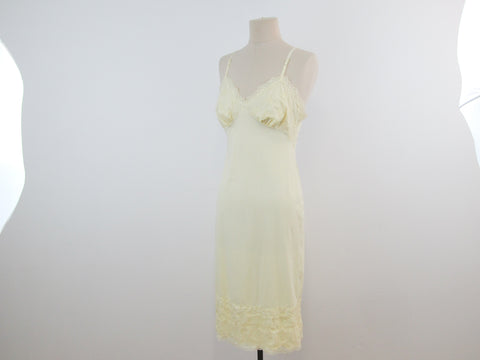Yellow slip dress size 34, vintage lingerie dress by Van Raalte USA