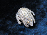 Antique Frog brooch in sterling silver with gold eyes, vintage Toad brooch