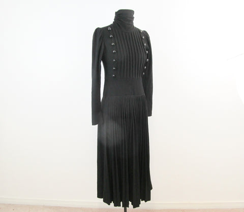 Black wool mourning dress, gothic wiccan turtleneck dress