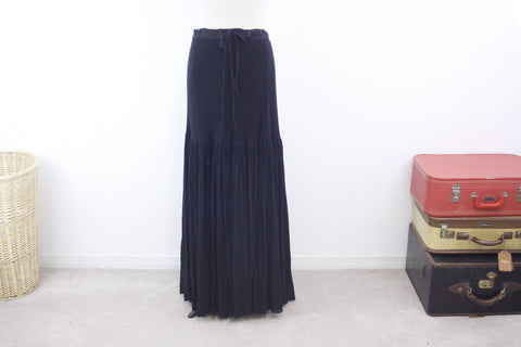 Long black skirt size XL, Witches skirt, gothic costume skirt