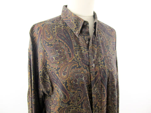 Brown Paisley button down mens shirt size L, J.P.Tilford for Harry Rosen