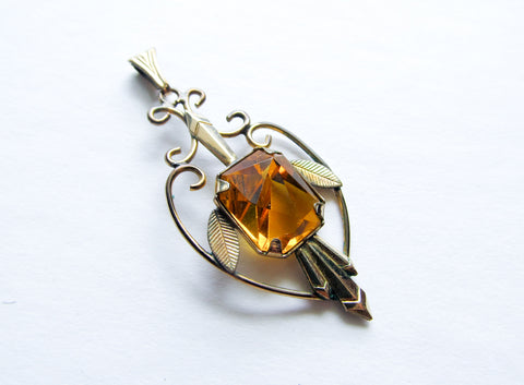 Edwardian citrine pendant, yellow glass pendant