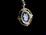Antique Intaglio flower pendant, Edwardian glass pendant with violets