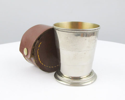 Vintage travel cup, telescopic spirit cup in original leather case