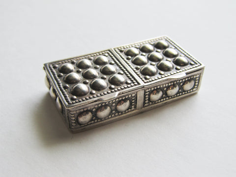 RARE Sterling silver double pill box, beaded snuff box