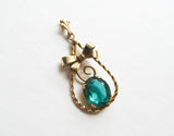 Gold filled pendant, vintage apple green stone pendant by Cellini craft