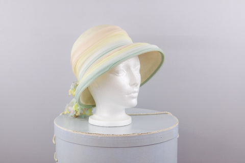 Vintage 1960s Christian Dior Chapeaux straw and pastel fabric hat size S