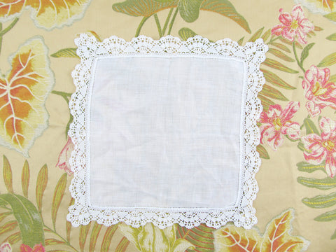 White lace hanky, wedding handkerchief