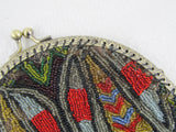 Beaded flapper purse, antique beaded handbag with beetle or bug pattern