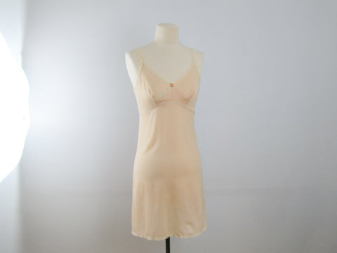 Vintage slip dress beige pink Greek size 46
