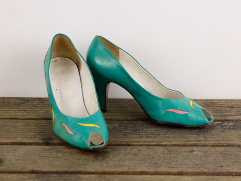 Vintage teal peeptoe pumps by Bally US size 7.5
