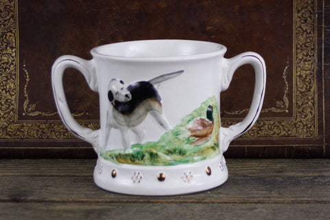 Antique Staffordshire twin handle frog mug with hunting dogs
