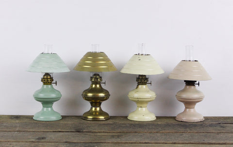 Miniature oil lamp, ACORN P&A Mfg Co in brass, teal, pink and yellow