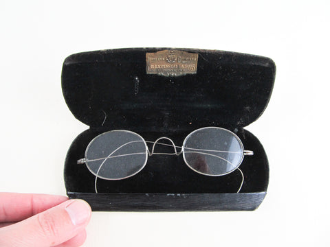 Victorian eyeglasses, silver coloured oval glasses frame