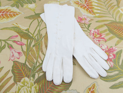Formal white wedding gloves