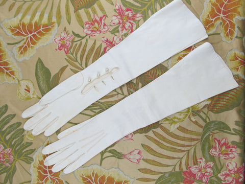 Long white leather gloves size 7.5