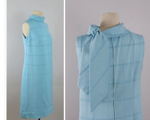 1960s Turquoise shift dress with scarf collar, vintage blue dress size 8