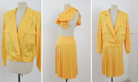 YELLOW skirt suit for outgoing girl boss