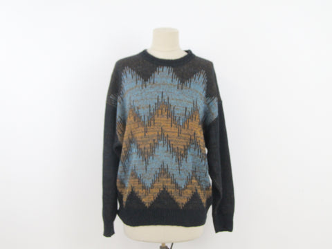 Vintage Italian cotton sweater with soundwave pattern