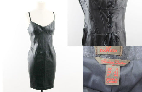 Black Italian leather minidress by Danier size 10