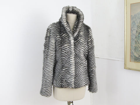 Striped faux fur coat, short black and white fun fur jacket