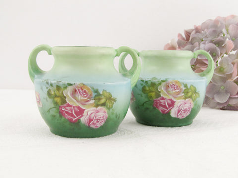 Pale Blue Victorian hand painted miniature vases with roses, set of 2