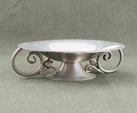 Nekrassoff pewter dish and candle holder ca 1930s
