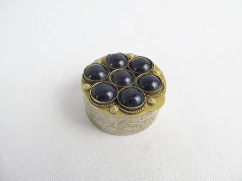 Vintage pill box with 7 blue cabochons, ring box, jewelry travel box