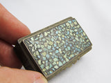Vintage pill box with turquoise inlaid lid
