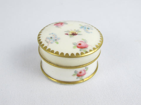 Antique cosmetics jar, small porcelain trinket box Rose, Pansy, Forget Me Not pattern