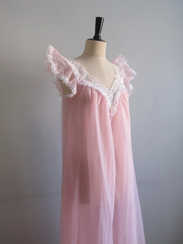 Bubblegum pink nightgown size L, vintage wedding lingerie