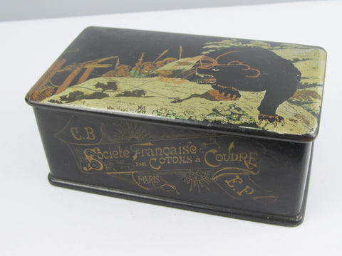 Antique sewing box, lacquerware box with bear hunt image in Japanese style