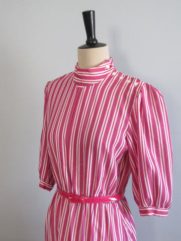 Hot pink striped dress, JB Mode Europeenne 1960s polyester dress with belt