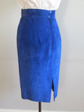 Blue suede skirt by Danier, cobalt blue leather pencil skirt