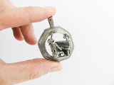 Momento Mori Pewter art pendant, Death playing the piano