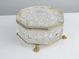 Vintage Glass jewelry box, Cut Glass Footed Box, Vanity decor, Jewelry Casket