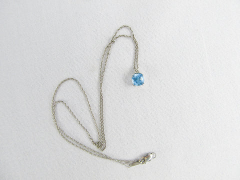 Vintage JWBR blue topaz pendant on silver chain, November birth stone birthday gift