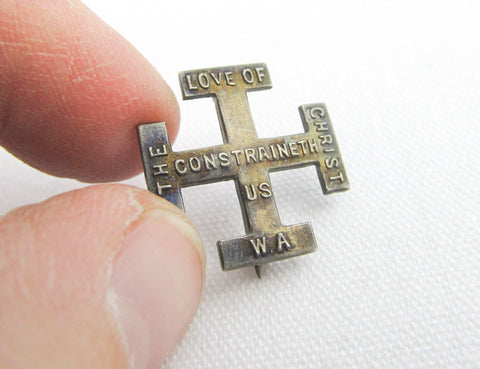 Sterling silver cross, bible quote brooch, 2 Cor 5:14; The love of Christ constraineth us