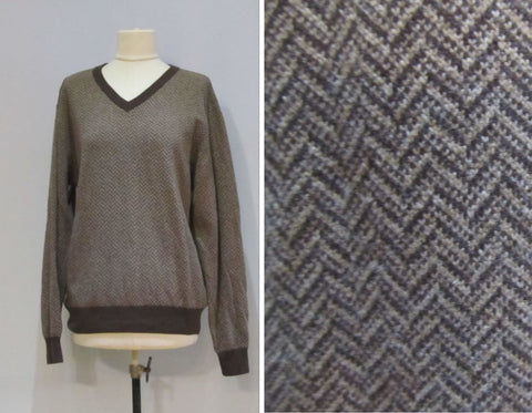 Enzo Mantovani brown wool sweater size L, Italian design jumper