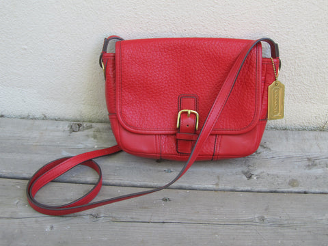 Red Leather Coach crossbody purse, crossbody handbag