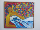 Reclining woman - Colourful painting of a woman resting - Original oil painting by Carole Walker 1989