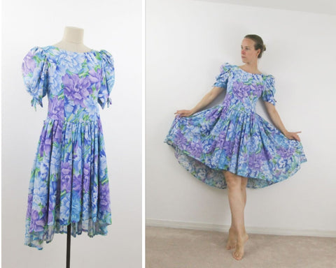 Blue and purple tea dress ca 1980s